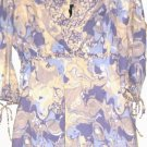 WOMEN'S V NECK PRINTED 100% COTTON BLOUSE SIZE L