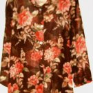 WOMEN'S BROWN PRINTED BUTTON DOWN TOP SIZE 12
