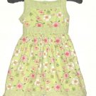 GIRLS GREEN FLOWERS AND STRIPS DRESS SIZE S