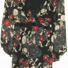 WOMEN'S BLACK FLOWER V NECK BLOUSE SIZE M
