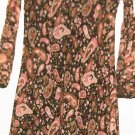 WOMEN'S BROWN PRINTED V NECK DRESS SIZE S