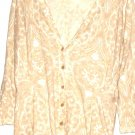 WOMEN'S BEIGE AND WHITE PRINTED CARDIGAN SIZE M NEW YORK & COMPANY