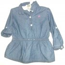GIRLS BLUE JEAN LOOK TOP SIZE 18 MOS.