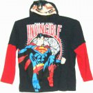 BOYS BLACK SUPERMAN SHIRT WITH HALF FACE MASK SIZE S OR 14