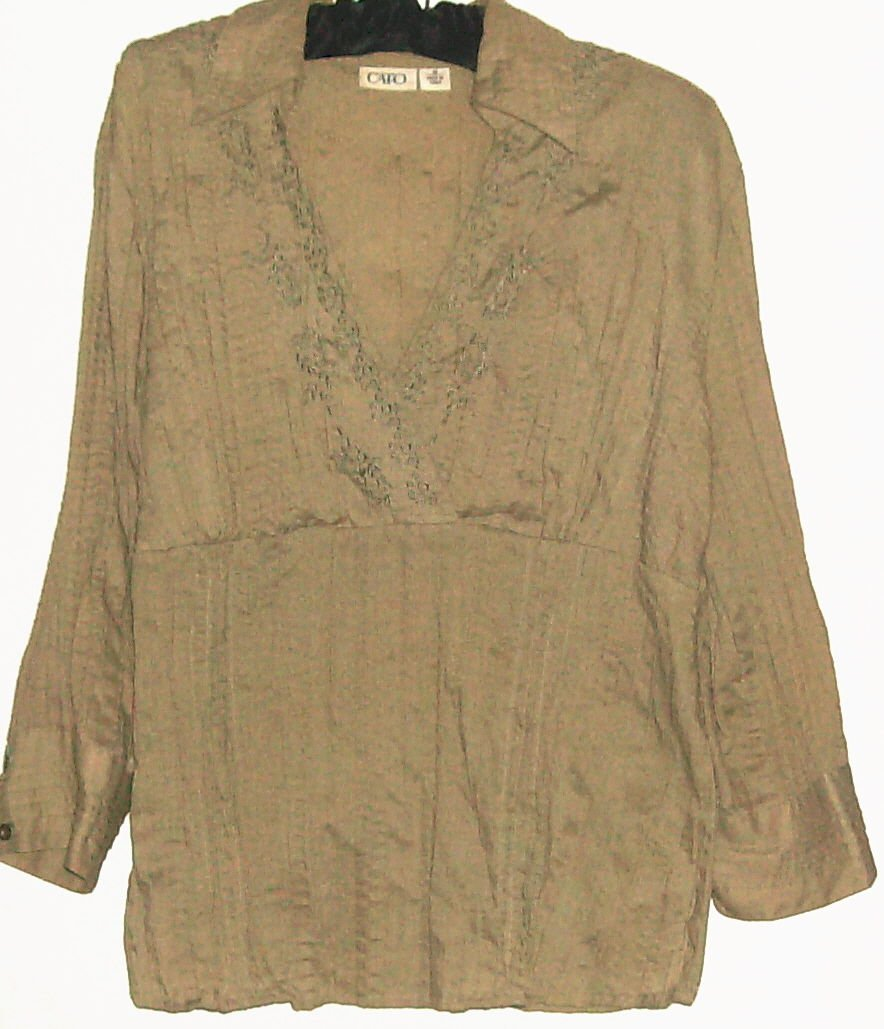 WOMENS GREEN V NECK COTTON BLOUSE SIZE M