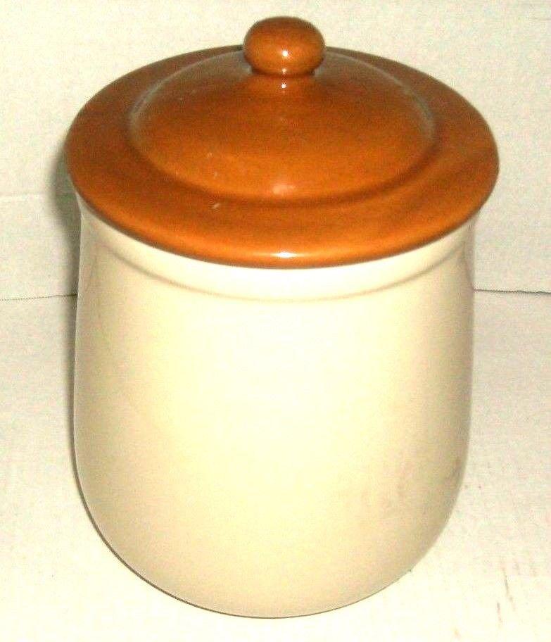 Big Ceramic Cookie Jar Beige Brown