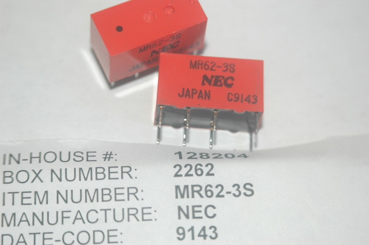 NEC MR62-3S Through Hole Relay New Lot Quantity-2