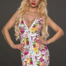 Fashion V-neck Front Zip Floral Printed Mini Dress Club Wear