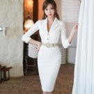 OL Lapel Fitted White Dresses With Belt