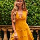 V Neck Solid Color Sleeveless Dress