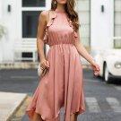 Solid Irregular Hem Ruffles Detail Halter Dress