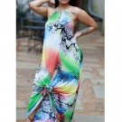 Multicolored Printed Backless Halter Maxi Dresses