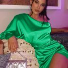 Inclined One Shoulder Green Ladies Dress