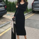 Winter Solid Bodycon Knitting Long Sleeve Dress