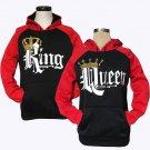 Couple Matching King Queen Crown Raglan Pullover Hoodie