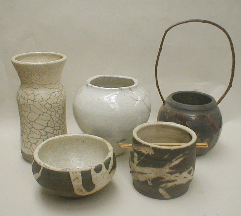 Five Modern raku pottery vases