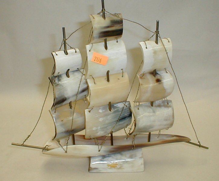 Italian sailing ship model made from horns