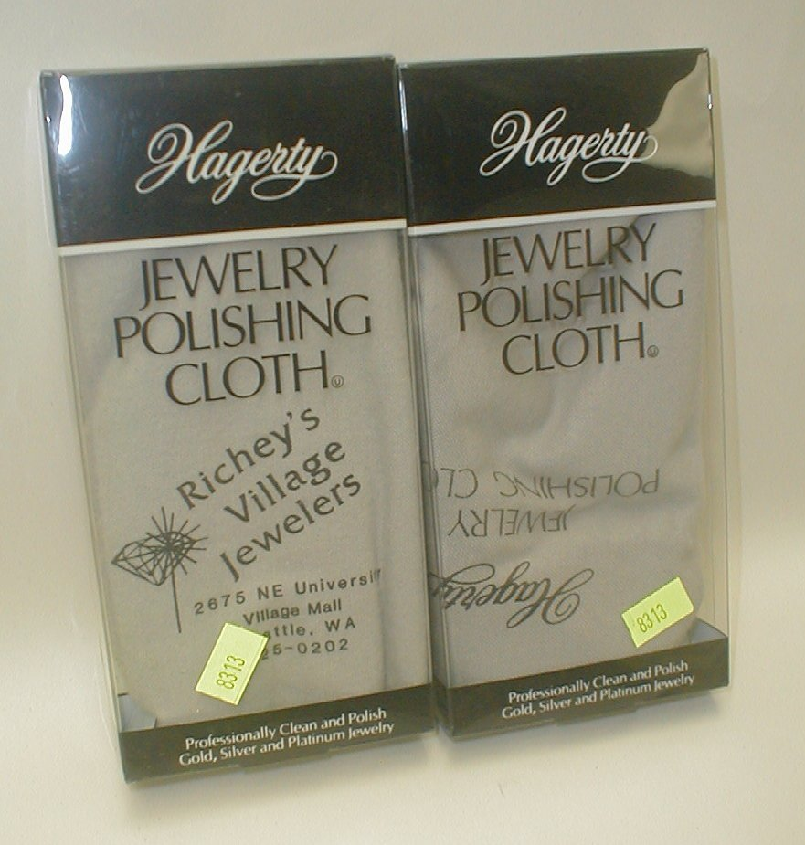 Two Hagerty Jewelry polishing cloths