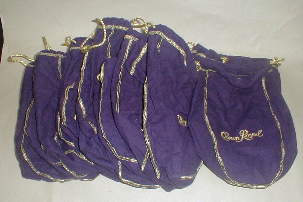 Purple draw string Crown Royal bags
