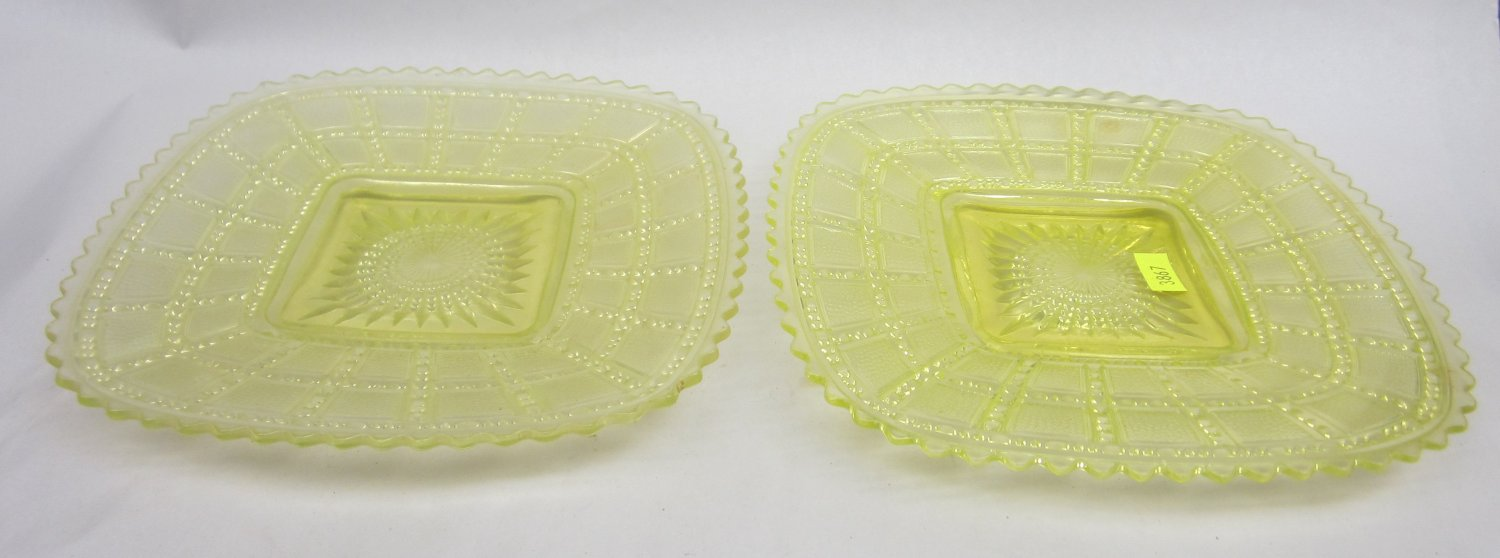 Vaseline Uranium glass  Beaded Block Yellow footed plates by Imperial Glass
