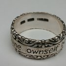 Sterling silver band ring. Inscribed to thine ownself be true