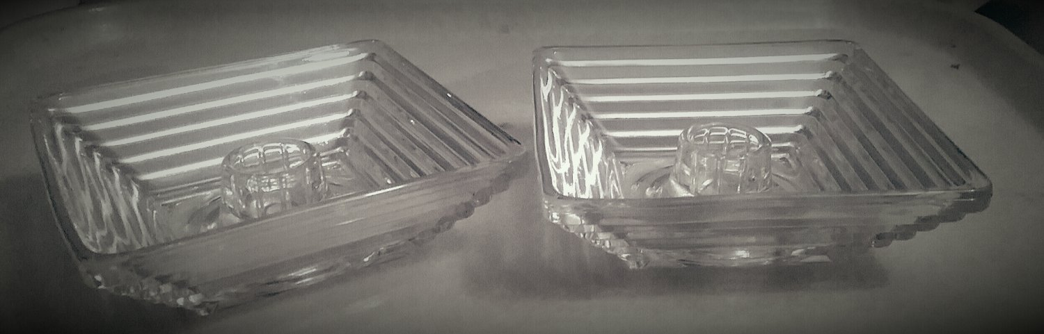 Pair Manhattan glass candle holders