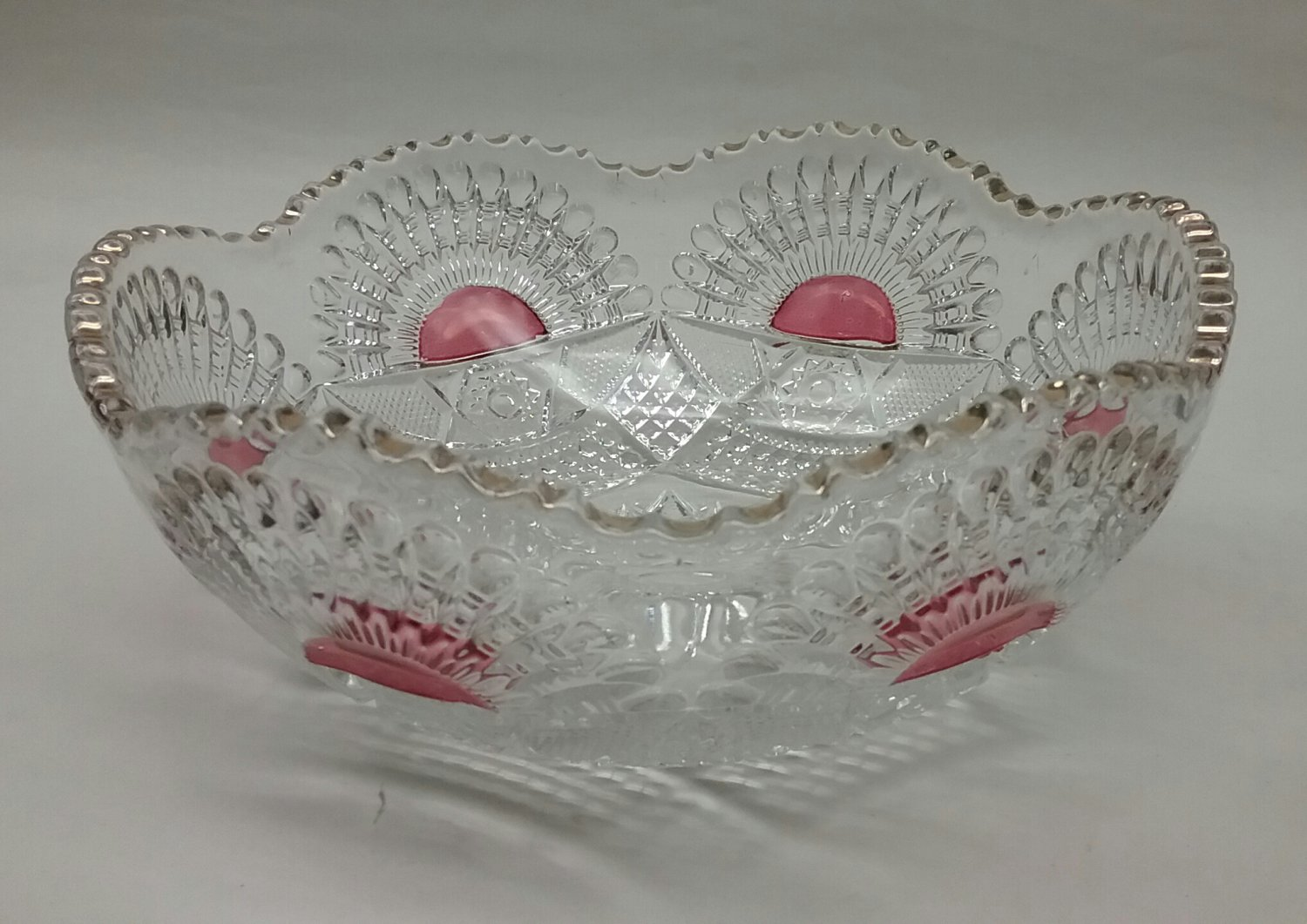 Pressed Glass cranberry flashed Bowl