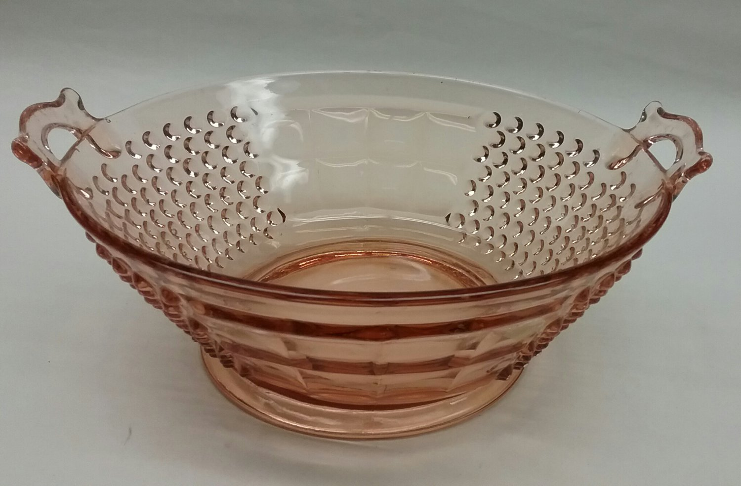 Pink depression glass handled bowl