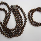 Bronze tone fresh water pearl necklace and bracelet