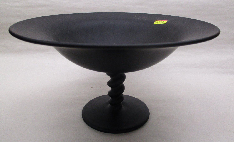 Tiffin Black Satin Glass Compote