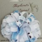 Girl's hair bow puffy blue and white