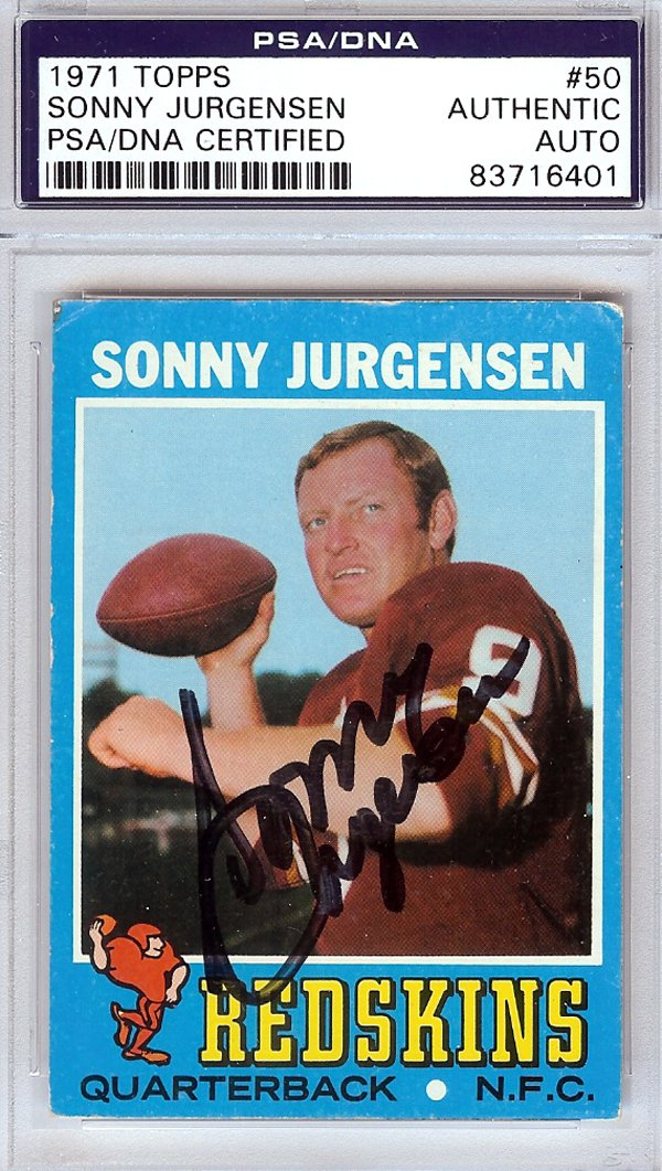 Sonny Jurgensen Washington Redskins Signed Autographed  1971 Topps Card  PSA