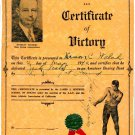 James Jeffries Autographed Signed 8.5x11 Boxing Certificate Document PSA/DNA