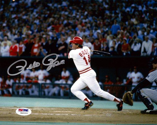 Pete Rose Cincinnati Reds Signed Autographed 8x10 Photo PSA