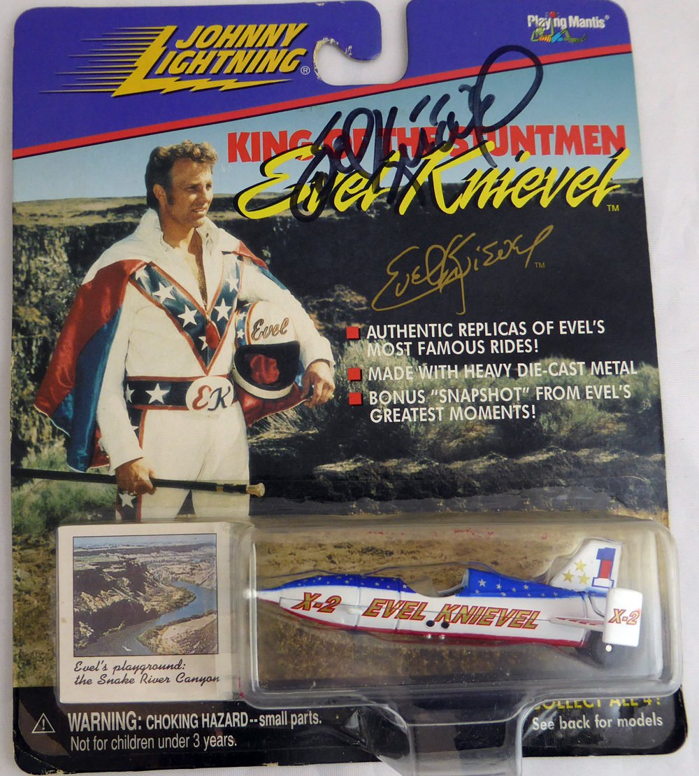 Evel Knievel Autographed Signed Johnny Lightning King of The Stuntman Die-cast Sky Cycle BECKETT COA