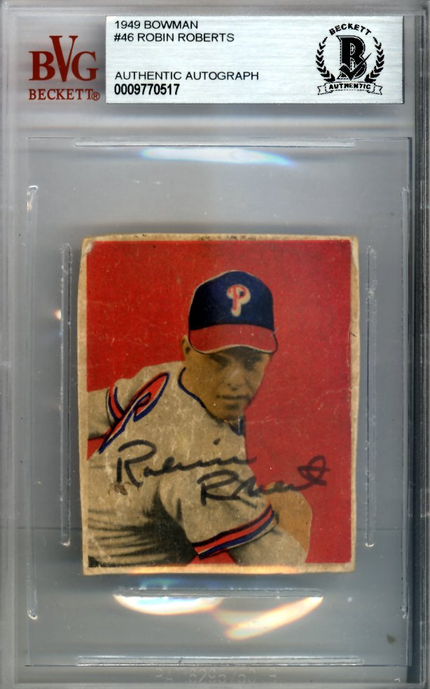 Robin Roberts Philadelphia Phillies Autographed Signed 1949 Bowman Rookie Card BECKETT