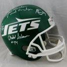 New York Sack Exchange (4) Autographed Signed Jets FS Helmet JSA COA