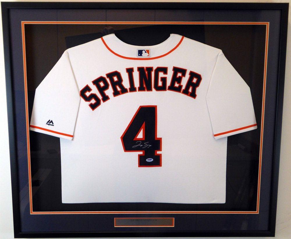 George Springer Autographed Signed Framed Houston Astros Majestic Jersey PSA