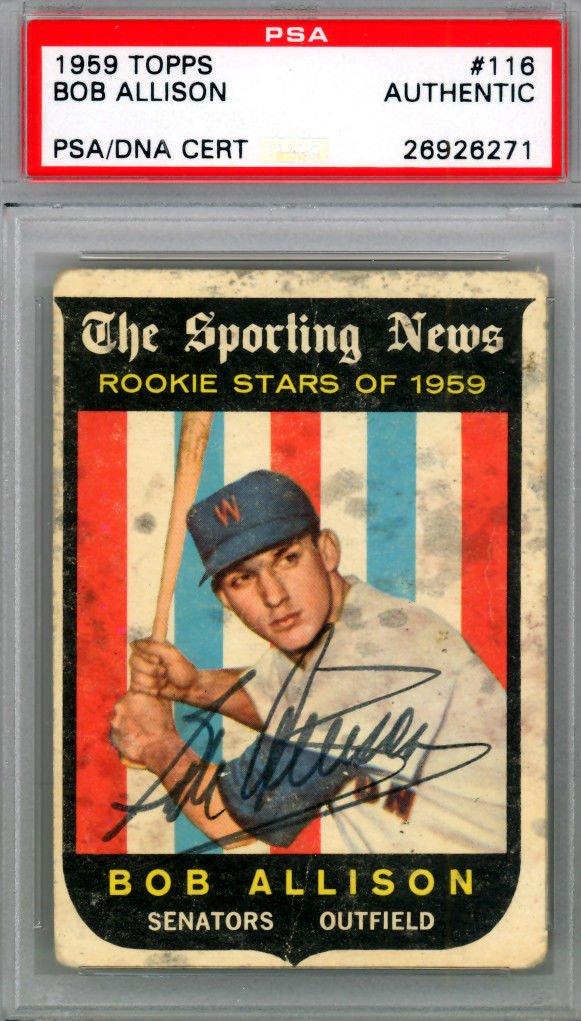 Bob Allison Washington Senators Autographed Signed 1959 Topps Rookie Card PSA