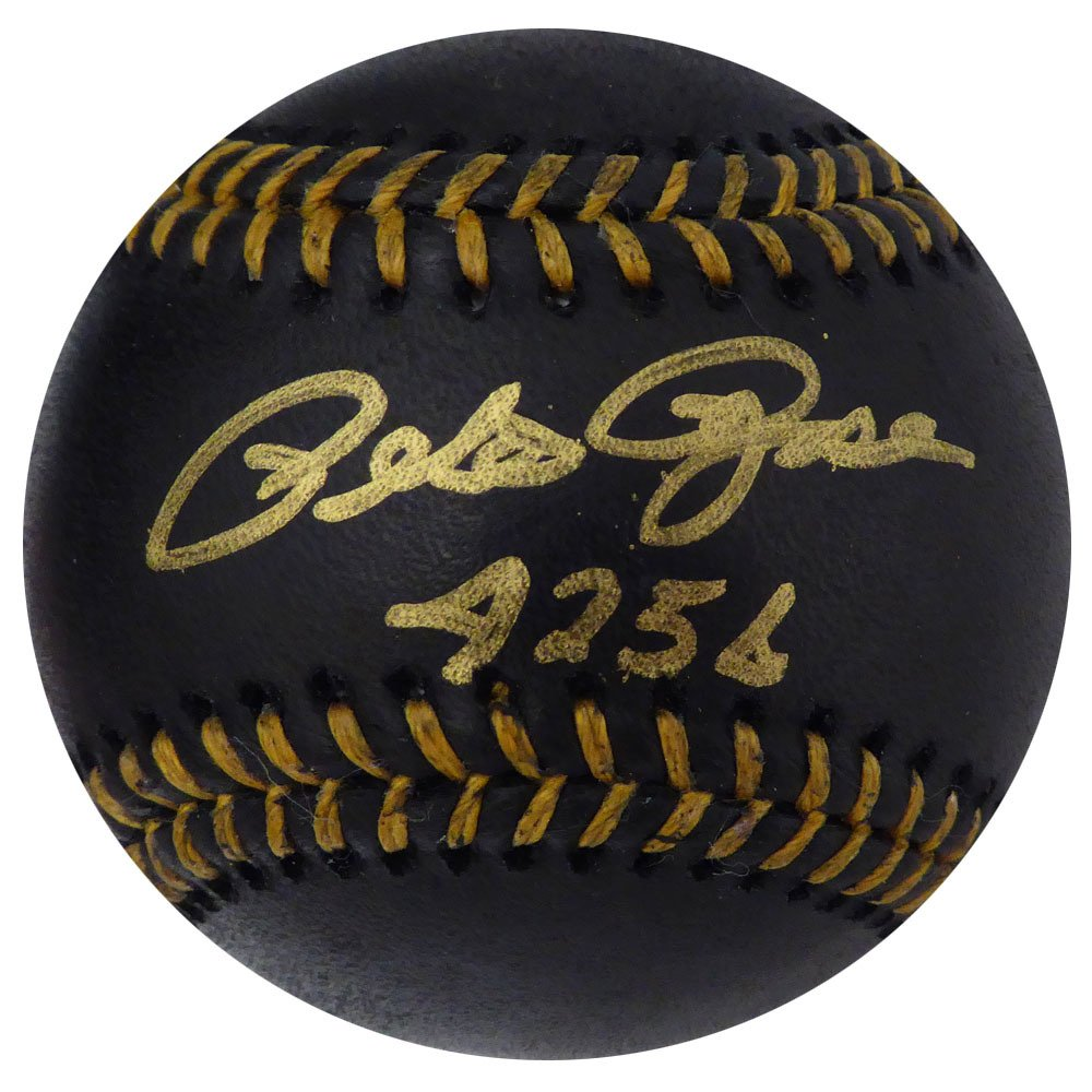 Pete Rose Cincinnati Reds Autographed Signed MLB Black Baseball BECKETT
