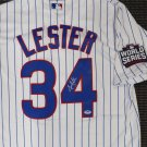 Jon Lester Signed Autographed Chicago Cubs Majestic 2016 WS Patch Jersey PSA