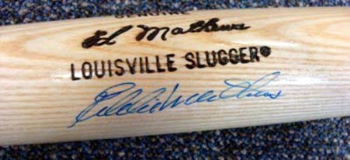 Eddie Mathews Braves Autographed Signed Louisville Slugger Bat JSA