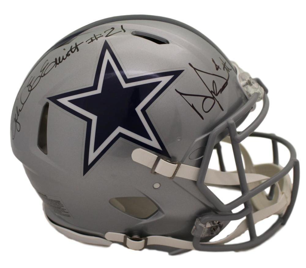Dak Prescott & Ezekiel Elliott Signed Autographed Dallas Cowboys Proline FS Helmet BECKETT