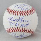 Jim Rice, Fred Lynn, & Dwight Evans Boston Red Sox Signed Autographed Baseball JSA