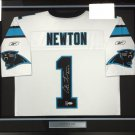 Cam Newton Signed Autographed Framed Carolina Panthers Jersey PSA