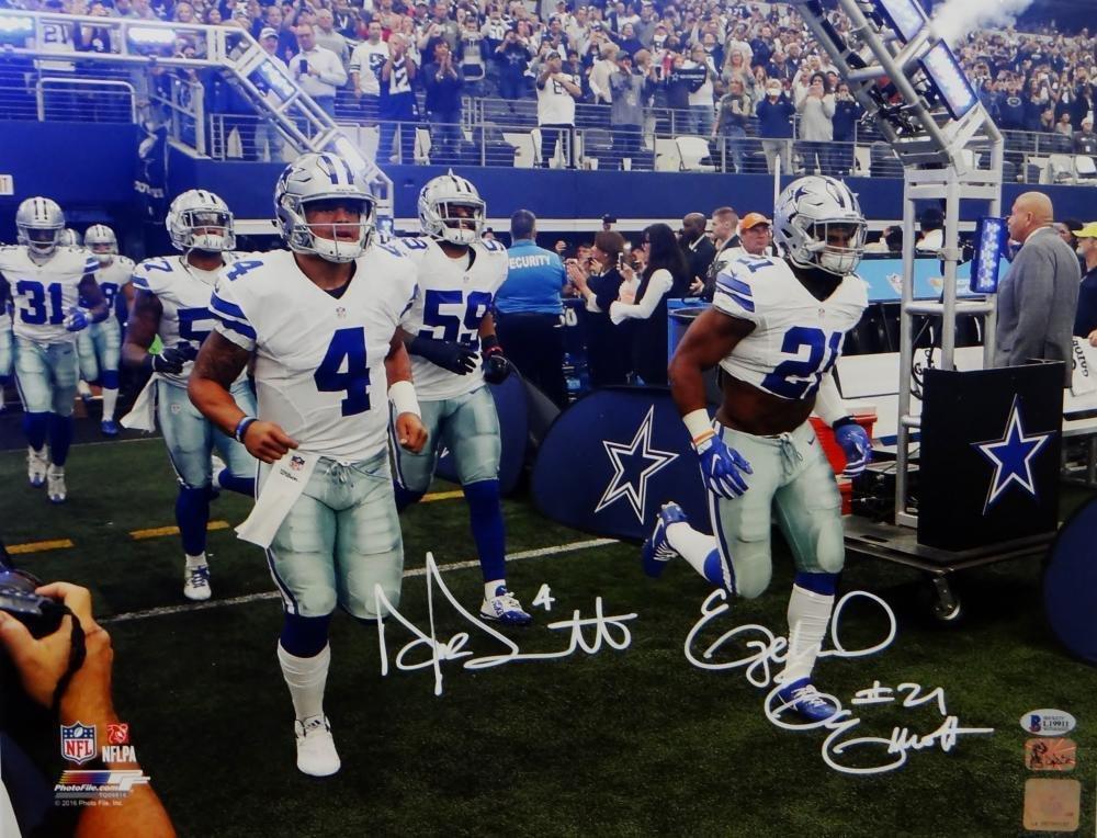 Dak Prescott & Ezekiel Elliott Signed Autographed Dallas Cowboys 16x20 Photo BECKETT