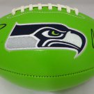 Russell Wilson & Marshawn Lynch Dual Signed Autographed Seattle Seahawks Logo Football RW ML COA