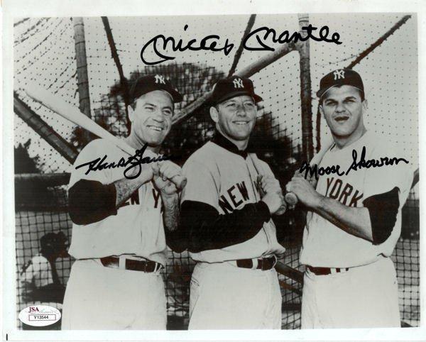 Mickey Mantle, Hank Bauer, Moose Skowron Yankees Signed Autographed 8x10 Photo JSA
