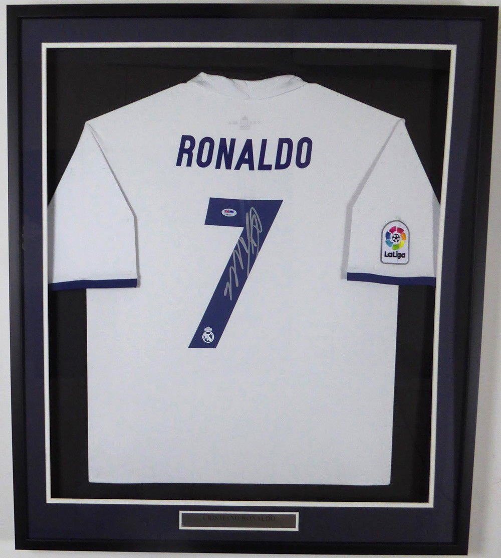 Cristiano Ronaldo Signed Autographed Framed Real Madrid Soccer Jersey PSA/DNA