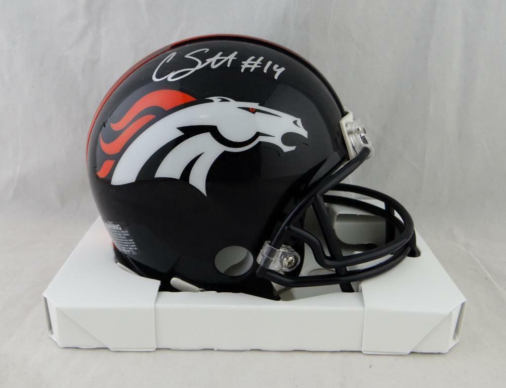 Courtland Sutton Autographed Signed Denver Broncos Mini Helmet JSA